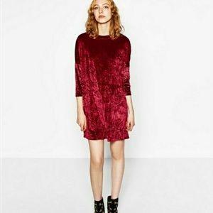 Zara Crushed Velvet Mock Neck Dress in Burgundy L
